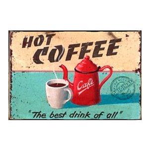 Hot Coffe Πίνακας Χειροποίητος  20cm X 30cm