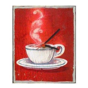Hot Coffee - Ξύλινο ρολόι τοίχου χειροποίητο