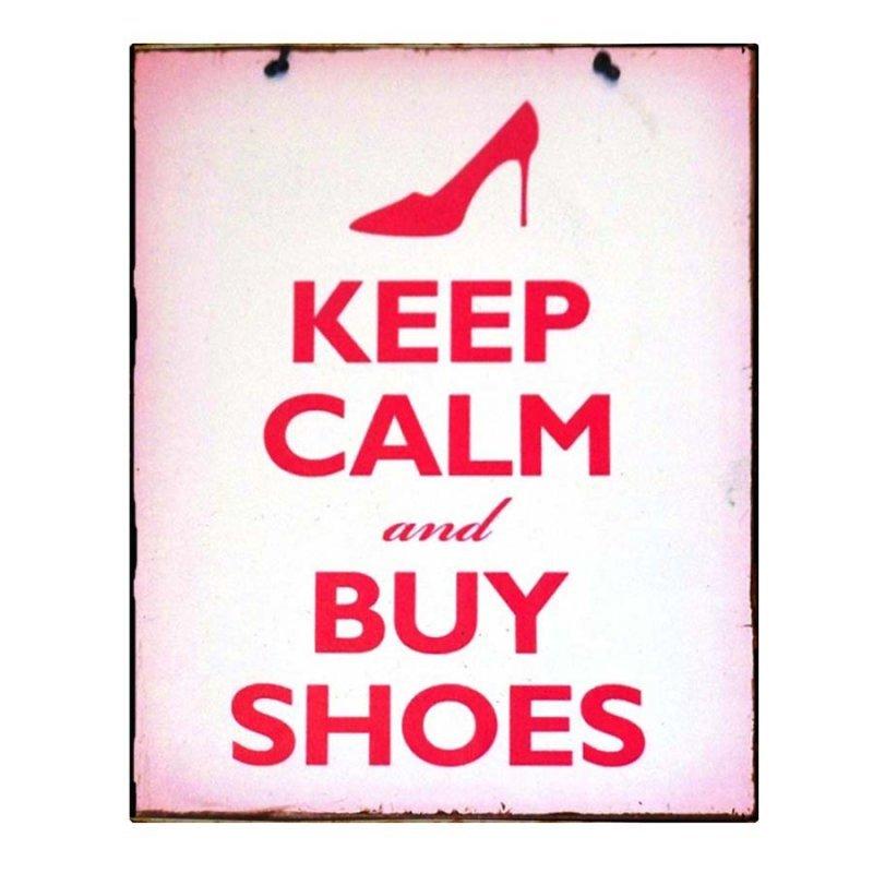 Keep Calm & Buy Shoes Vintage Χειροποίητο Πινακάκι κόκκινο