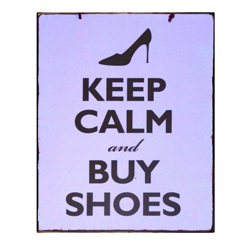 Keep Calm & Buy Shoes Vintage Χειροποίητο Πινακάκι μαύρο