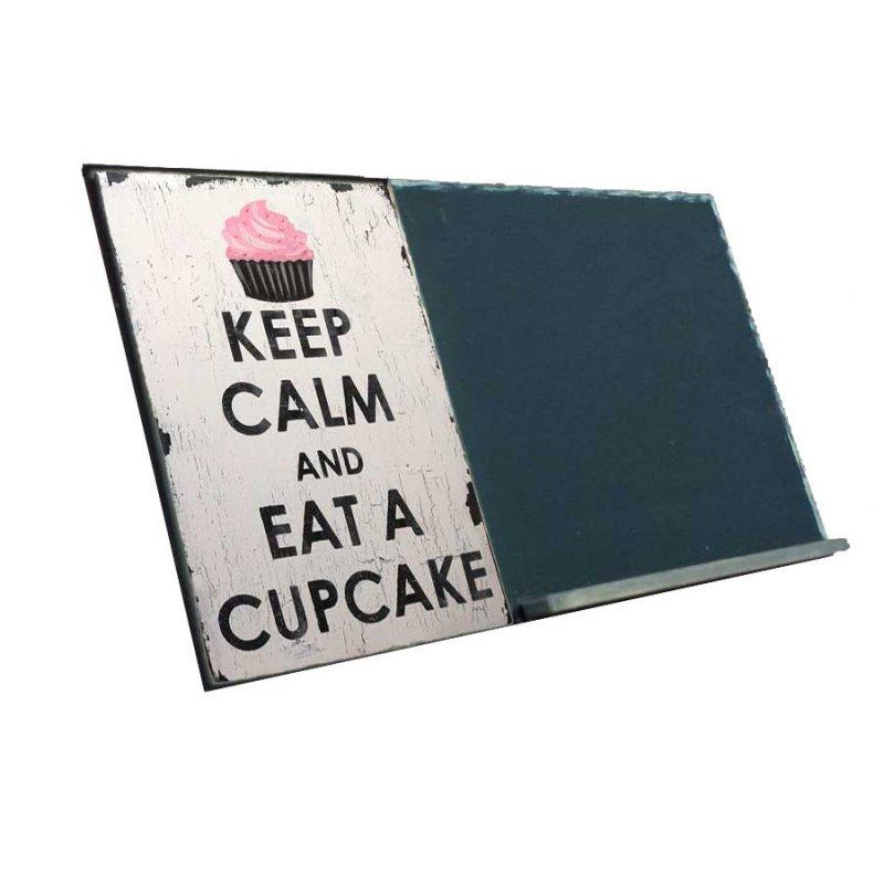 Keep Calm and Eat a Cupcake  Ξύλινος Χειροποίητος Μαυροπίνακας 38 x 26 cm