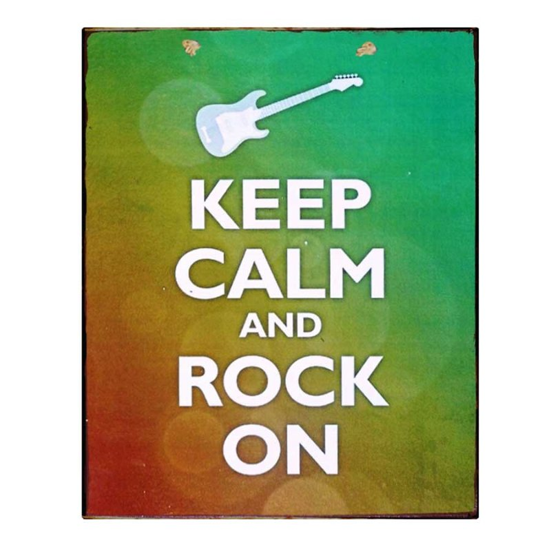 Keep Calm & Rock on Vintage Χειροποίητο Πινακάκι