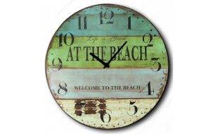 Ρολόι τοίχου Ξύλινο Χειροποίητο Στρογγυλό 32cm - Life At the Beach F3204