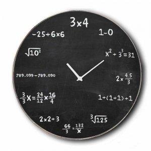 Vintage Ρολόι τοίχου Maths - Ξύλινο Χειροποίητο 48cm
