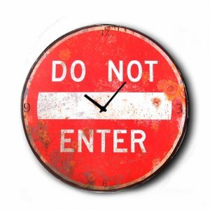 Do Not Enter - Ρολόι τοίχου Ξύλινο Χειροποίητο Στρογγυλό 48cm F4812