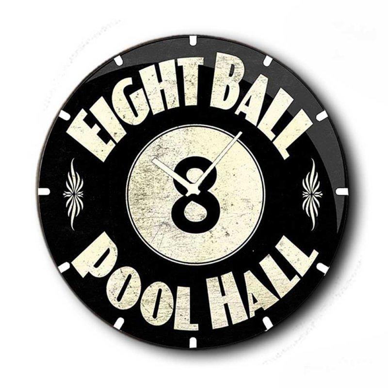 Pool Hall - Ρολόι τοίχου Ξύλινο Χειροποίητο Στρογγυλό 48cm F4813