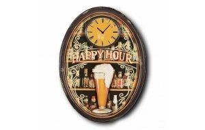 Happy Time - Ρολόι τοίχου Ξύλινο Χειροποίητο Οβάλ 48Χ64cm Ο486404