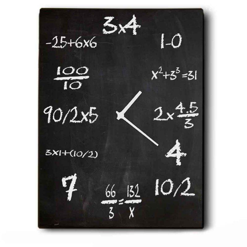 Retro Παραλληλόγραμμο Ξύλινο Χειροποίητο Ρολόι 64x48cm Maths