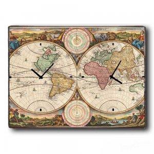 Ο κόσμος μας - Ρολόι τοίχου Ξύλινο Χειροποίητο με &D