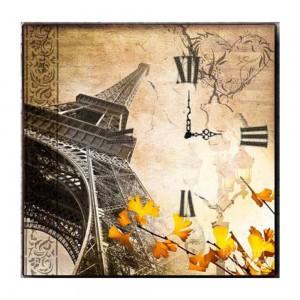 Ξύλινο Τετράγωνο Χειροποίητο Ρολοι Τοίχου Vintage Paris  48cm