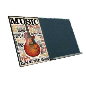 Music  Ξύλινος Χειροποίητος Μαυροπίνακας 38 x 26 cm
