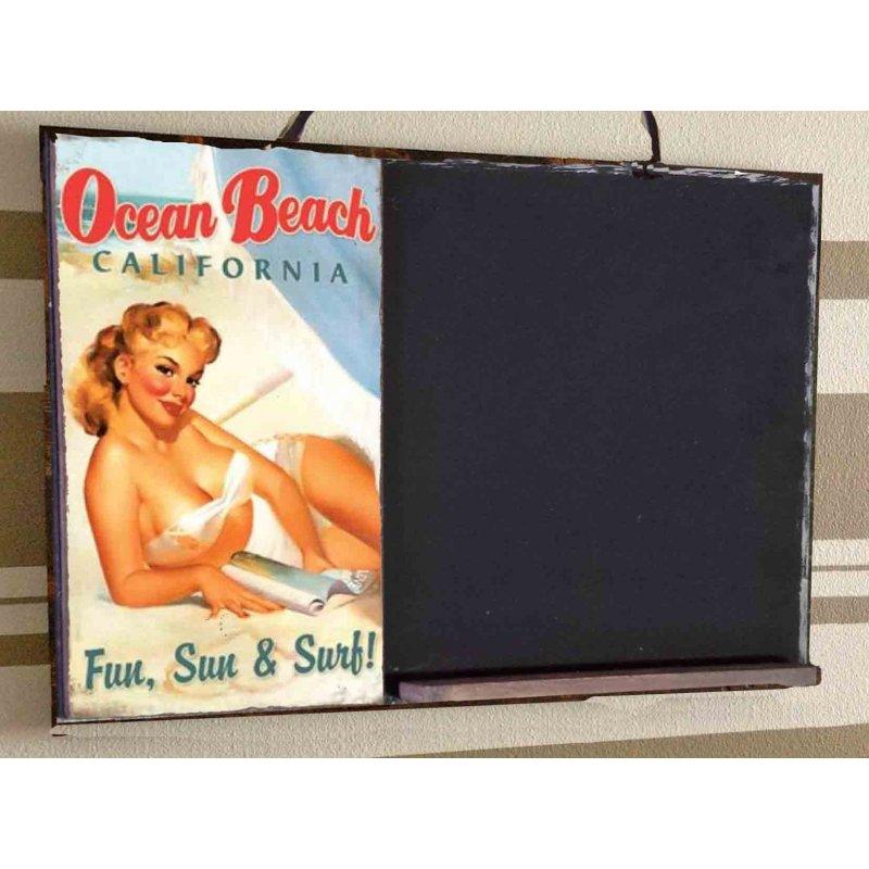 Ocean Beach  Ξύλινος Χειροποίητος Μαυροπίνακας 38 x 26 cm