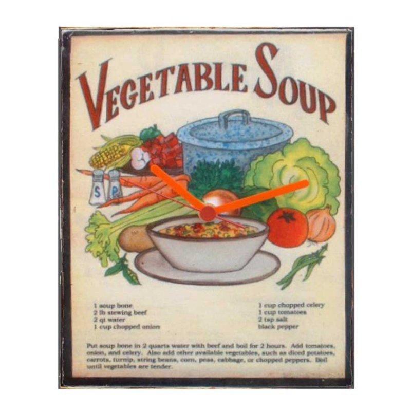 Vegetable soup - Ρετρό ρολόι τοίχου χειροποίητο