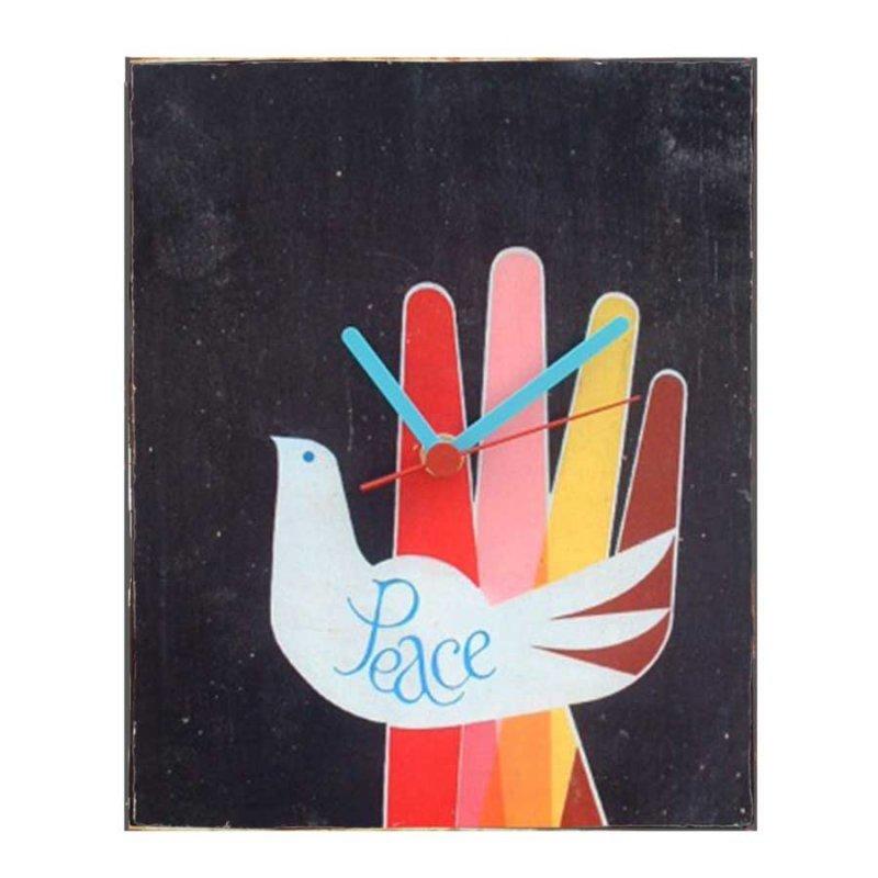 Peace - Ρετρό ρολόι τοίχου χειροποίητο