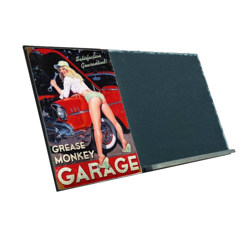 Pin Up Girl Garage Ξύλινο Μαυροπινακάκι 38x26 cm