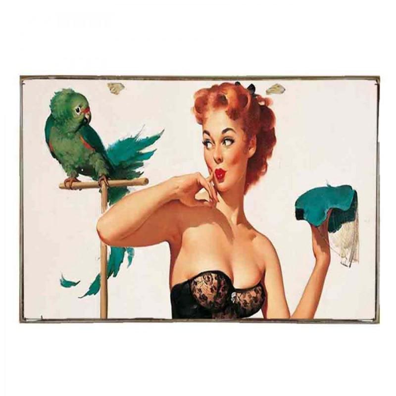 Pin Up Girl -Vintage Ξύλινο Ταμπελάκι 21 x 30 cm