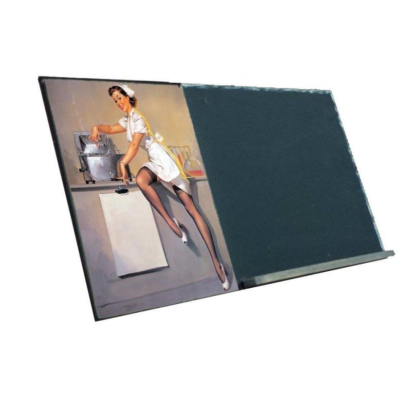 Pin Up Nurse  Ξύλινος Χειροποίητος Μαυροπίνακας 38 x 26 cm
