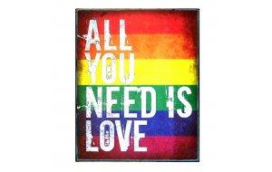 Πίνακας Χειροποίητος  All you Need is Love χρωματιστό