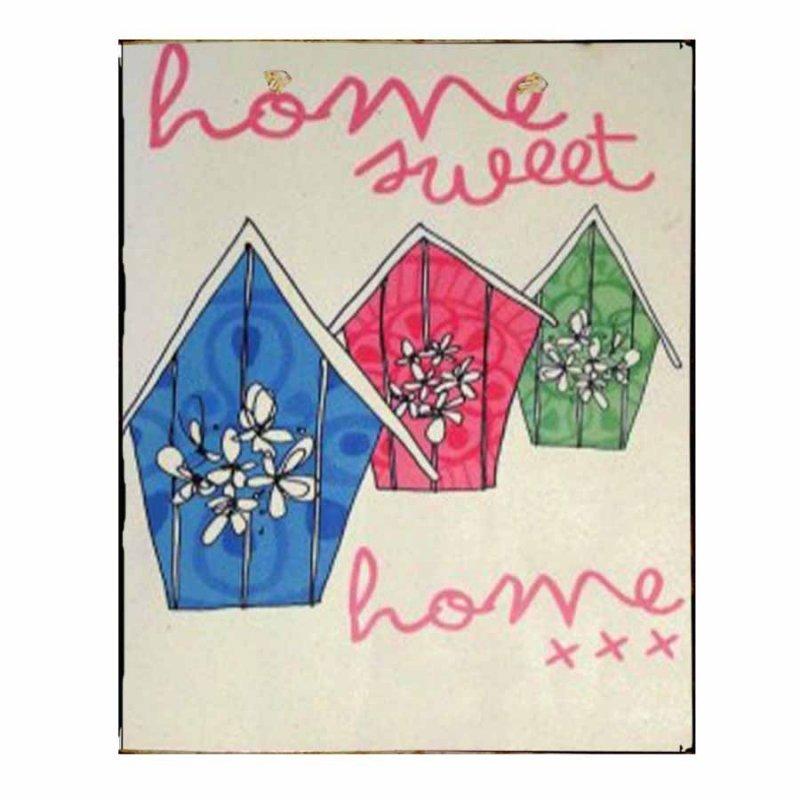 Πίνακας Χειροποίητος Home Sweet Home Χρωματιστά Σπιτάκια