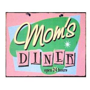 Πίνακας Χειροποίητος Mom's Diner Open ροζ