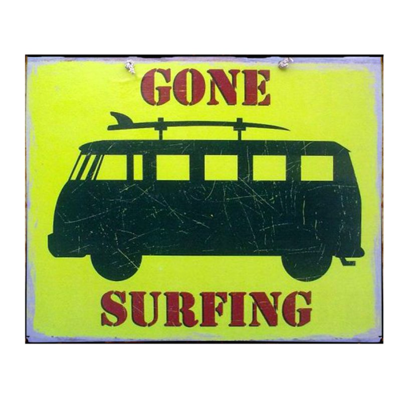 Ρετρό διακοσμητικό πινακάκι με βανάκι και μήνυμα 'Gone surfing'