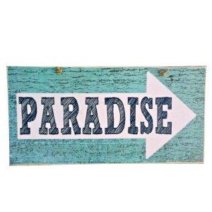 Ρετρό ξύλινος πίνακας χειροποίητος PARADISE