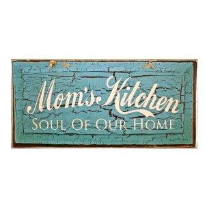 Ρετρό ξύλινος πίνακας χειροποίητος Mom s kitchen SOUL OF OUR HOME