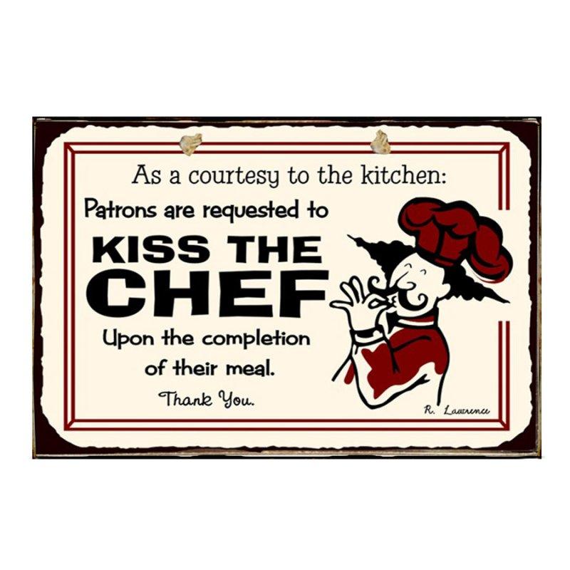 Ρετρό Πίνακας Χειροποίητος Kiss the Chef 30 x 20 cm