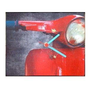 Retro Ρολόι τοίχου χειροποίητο Red Vespa