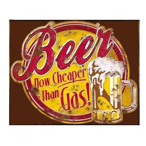 Ρετρό χιουμοριστικός πίνακας 'Beer now cheeper than gas.'