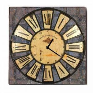 Ρολοι Τοίχου Tετράγωνο Vintage Latin Numbers 60cm