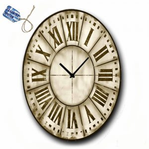 Ξύλινο Χειροποίητο Ρολόι Χειροποίητο Οβάλ 48x64