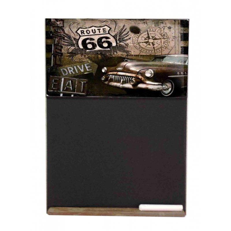 Route 66  Ξύλινος Χειροποίητος Μαυροπίνακας 38 x 26 cm