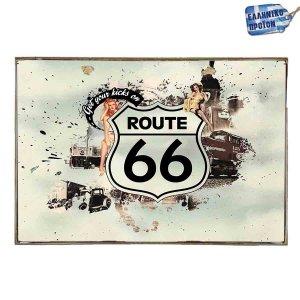 Route 66 -Vintage Ξύλινος  Πίνακας 20 x 25 cm