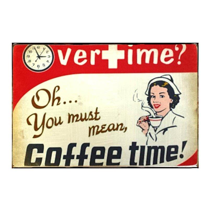 Sign Πίνακας Χειροποίητος  20cm X 30cm Nurse Coffee Time KIR1144