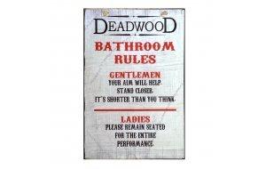 Sign Πίνακας Χειροποίητος Bathroom Rules  30cm X 20cm  KIR1147