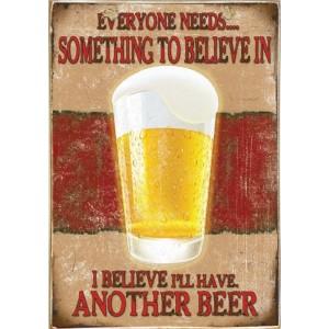 Sign Πίνακας Χειροποίητος Believe in Beer 21cm X 30cm