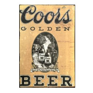 Sign Πίνακας Χειροποίητος Golden Beer Vintage Διαφήμιση 40cm X 30cm  KIR1140