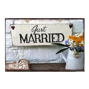 Sign Πίνακας Χειροποίητος Just Married  21cm X 30cm