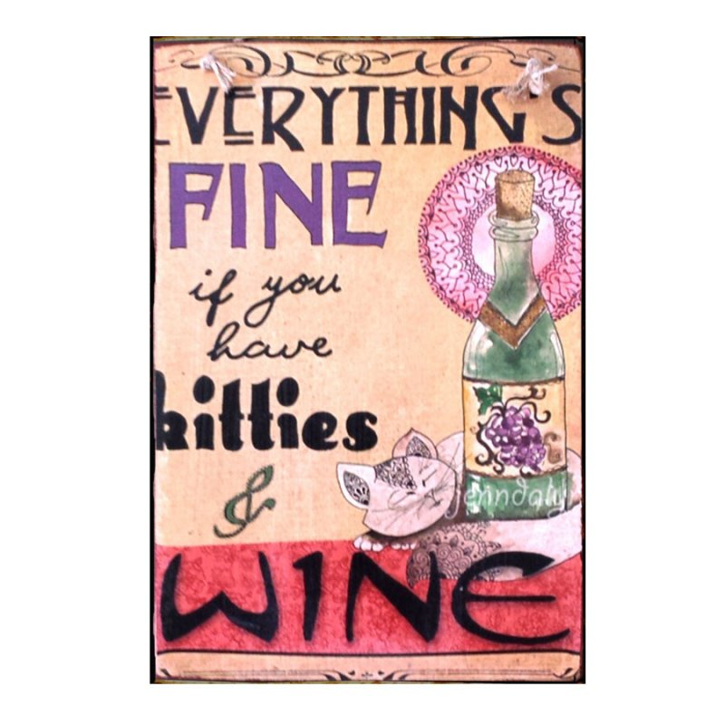 Sign Πίνακας Χειροποίητος Kitties & Wine
