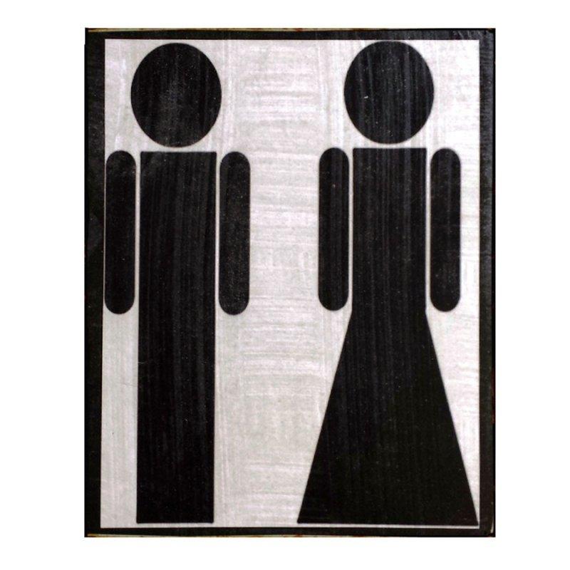 Sign Πίνακας Χειροποίητος  Male/Female υπόδειξης μπάνιου 15cm X 20cm  KIR1148