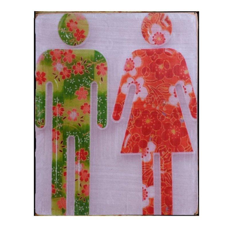 Sign Πίνακας Χειροποίητος  Male/Female υπόδειξης μπάνιου 15cm X 20cm  KIR1149