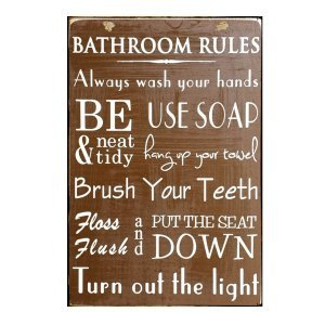 Sign Πίνακας Χειροποίητος Toilet Rules καφέ 30cm X 20cm  KIR1146