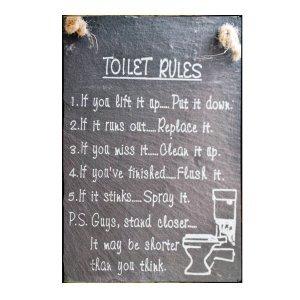 Sign Πίνακας Χειροποίητος Toilet Rules μαυροπίνακας 30cm X 20cm  KIR1145