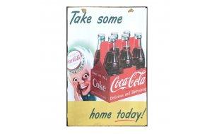 Sign Πίνακας Χειροποίητος  Vintage διαφήμιση Coca Cola 30cm X 20cm  KIR1155