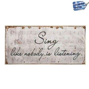 Sing Ξύλινο Vintage Πινακάκι 13 x 26 cm