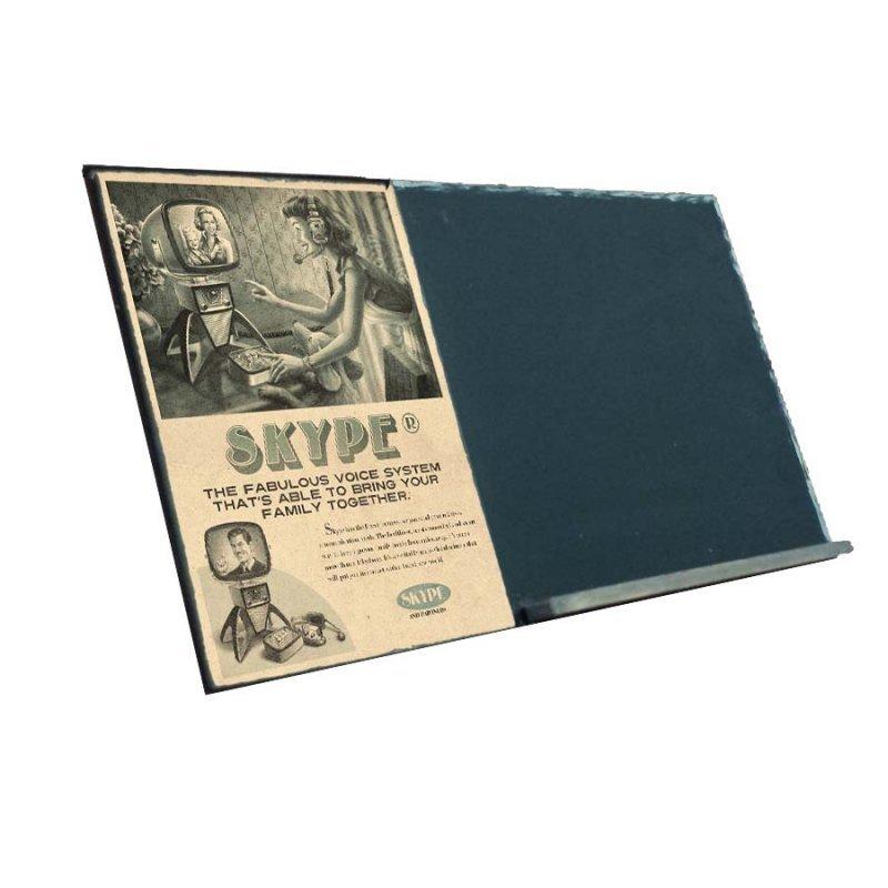 Skype  Ξύλινος Χειροποίητος Μαυροπίνακας 38 x 26 cm