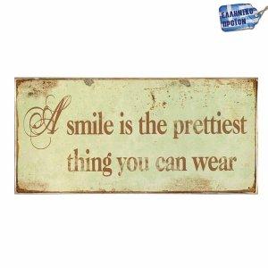 Smile: Ξύλινο Χειροποίητο Πινακάκι 13 x 26 cm