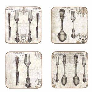 Σουβέρ Ξύλινα Χειροποίητα Cutlery  Σετ 4 τεμάχια 40130