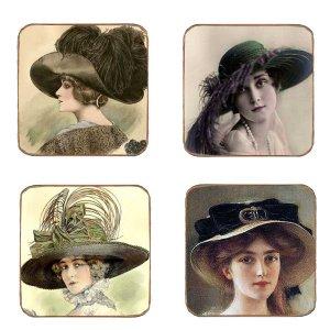Σουβέρ Ξύλινα Χειροποίητα Hats  Σετ 4 τεμάχια 40020